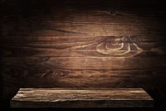 Vintage wood table background of free space stock photo