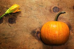 Vintage wood table with pumpkin and blossom Stock Photo