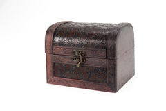 Vintage wood teasure box have lock beside Stock Image
