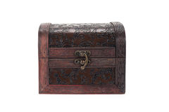 Vintage wood teasure box have lock beside Royalty Free Stock Photography