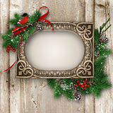 Vintage wood texture with gorgeous frame and Xmas decoration royalty free stock photos