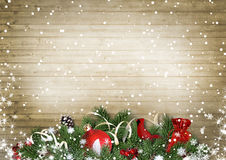 Vintage wood texture with snow, holly,firtree, cardinal.Christma Royalty Free Stock Image