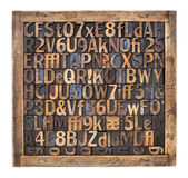 Vintage wood type printing blocks. Letters, numbers, punctuation symbols in vintage letterpress wood type blocks placed randomly in a wooden box Royalty Free Stock Images