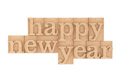 Vintage wood type Printing Blocks with Happy New Year Slogan Stock Images