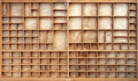 Vintage wood typesetter case. With dividers royalty free stock photos