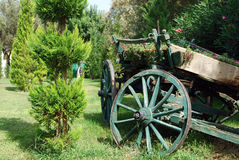 Vintage wood waggon. Wood waggon decorated with flowers stock image