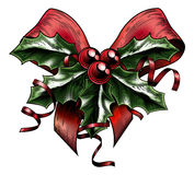 Vintage Woodcut Christmas Holly Bow vector illustration