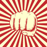 Vintage woodcut fist poster Stock Photos