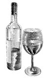 Vintage woodcut wine bottle and glass Stock Photos