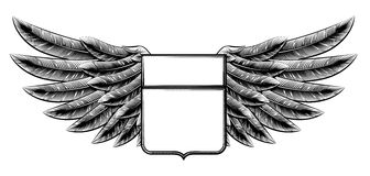 Vintage woodcut winged shield Royalty Free Stock Images