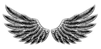Vintage woodcut wings Royalty Free Stock Photography