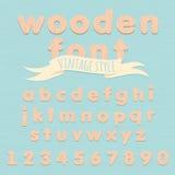 Vintage wooden alphabet. Flat style Royalty Free Stock Photo
