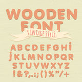 Vintage wooden alphabet. Flat style Royalty Free Stock Images