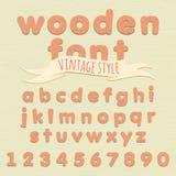 Vintage wooden alphabet. Flat style Stock Photos