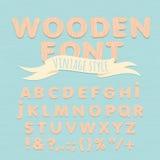 Vintage wooden alphabet. Flat style Royalty Free Stock Photography