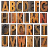 Vintage wooden alphabet set Royalty Free Stock Photo