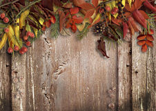 Vintage wooden background with autumn leaves Royalty Free Stock Photography