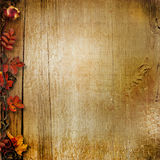 Vintage wooden background with autumn leaves Royalty Free Stock Photos