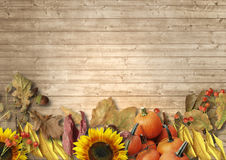 Vintage wooden background with autumn leaves, pumpkins, sunflowe Stock Photo