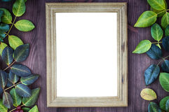 Vintage wooden background with blank frame for the inscriptions Stock Photo