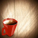 Vintage wooden background with cup of tea Royalty Free Stock Images