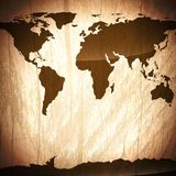 Vintage wooden background with world map Royalty Free Stock Photos