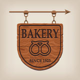 Vintage wooden bakery sign Stock Photography
