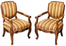 Vintage wooden baroque armchairs isolated on white Stock Photo
