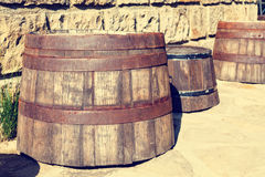 Vintage wooden barrels Royalty Free Stock Photos