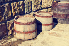 Vintage wooden barrels Royalty Free Stock Images