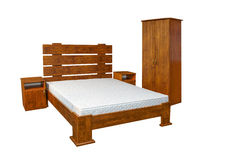 Vintage wooden bed Royalty Free Stock Images