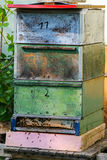 Vintage wooden beehive boxes Royalty Free Stock Photo