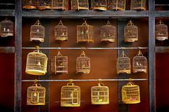 Vintage wooden bird cages. Vintage bird cages with stuffed birds inside on display Stock Photography