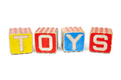 Vintage wooden blocks spelling TOYS Stock Image