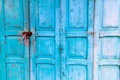 Vintage wooden blue cyan doors Royalty Free Stock Photo