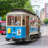 Vintage wooden blue tram, Stockholm, Sweden, Europe. Royalty Free Stock Images