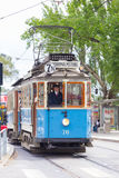 Vintage wooden blue tram, Stockholm, Sweden, Europe. Stock Photos