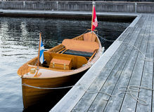 Vintage wooden boat. Classic wooden boat at a dock Royalty Free Stock Images