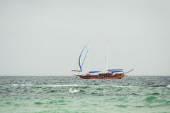 Vintage wooden boat. Luxury yacht. Tackle during the ocean voyage Stock Image