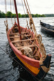 Vintage wooden boat. Old wooden boat on the water Royalty Free Stock Photo