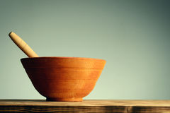 Vintage wooden bowl for spice and food cooking. Vintage wooden bowl mortar for spice and food cooking Stock Photography