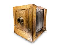 Old daguerreotype apparatus. Vintage wooden box daguerreotype apparatus shot on white Royalty Free Stock Photography