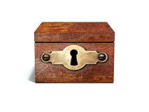 Vintage wooden box with metal keyhole Royalty Free Stock Images