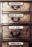Vintage wooden boxes for medications Stock Image