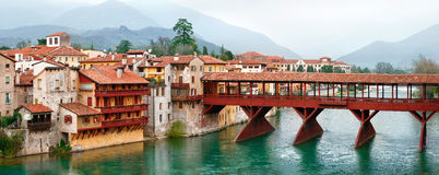 Vintage wooden bridge in old town Bassano Royalty Free Stock Images