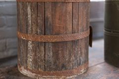 Vintage wooden bucket close up.  stock image