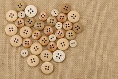 Vintage wooden buttons stock photos