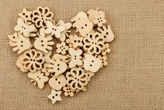 Vintage wooden buttons royalty free stock photo