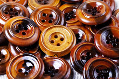 Vintage wooden buttons background Stock Photo