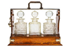 Vintage wooden cabinet with glass bottles Stock Photography